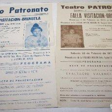 Carteles Feria: 2 CARTELES 44 X 32 CMTS. FALLA VISITACION-ORIHUELA 1973-1974, PRESENTACIÓN FALLERA MAYOR E INFANTIL. Lote 114481495