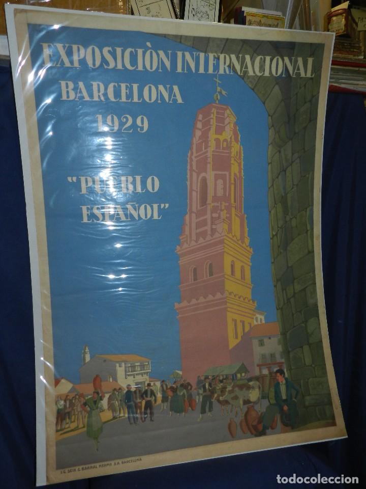 (M) CARTEL EXPOSICION INTERNACIONAL BARCELONA 1929 PUEBLO ESPAÑOL , ILUSTRADO XAVIER NOGUES (Coleccionismo - Carteles Gran Formato - Carteles Ferias, Fiestas y Festejos)