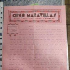 Carteles Feria: CIRCO MARAVILLAS - MISLATA VALENCIA - ESCRITA EN ALCOY ALICANTE AÑO 1933. Lote 115121263