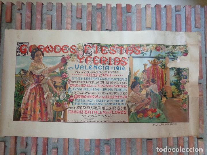 Carteles Feria: GRANDES FIESTAS Y FERIAS EN VALENCIA.AÑO 1914.C.-75 - Foto 2 - 115366039