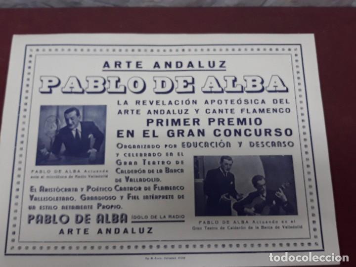 CARTEL ARTE ANDALUZ PABLO DE ALBA EN TEATRO CALDERON DE VALLADOLID (Coleccionismo - Carteles Gran Formato - Carteles Ferias, Fiestas y Festejos)