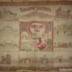 Carteles Feria: 1888 CARTEL DE TELA SERIGRAFIADA 52X41 - EXPOSICIÓN UNIVERSAL BARCELONA 1888 PEGADO SOBRE PLANO BCN. Lote 116773147