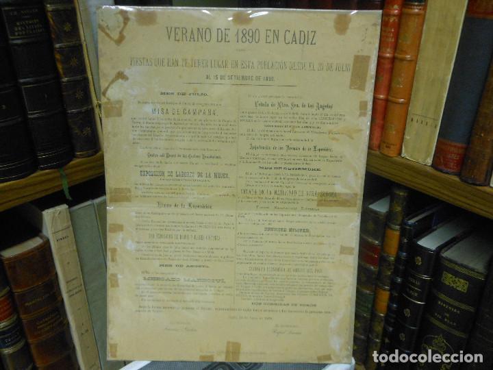 1890 CARTEL PROGRAMA DE FIESTAS VERANO EN CADIZ RELIGION HIMNO SRA. DE LOS ANGELES TOROS (Coleccionismo - Carteles Gran Formato - Carteles Ferias, Fiestas y Festejos)