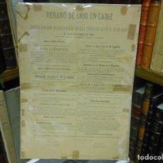 Carteles Feria: 1890 CARTEL PROGRAMA DE FIESTAS VERANO EN CADIZ RELIGION HIMNO SRA. DE LOS ANGELES TOROS. Lote 116939511