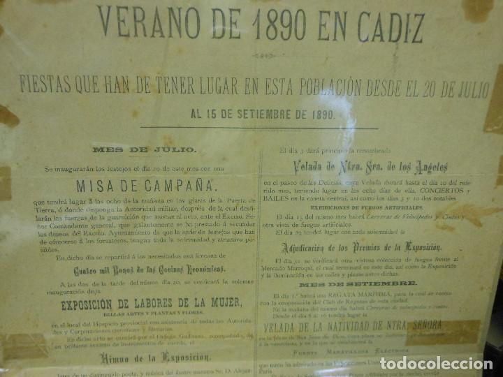 Carteles Feria: 1890 CARTEL PROGRAMA DE FIESTAS VERANO EN CADIZ RELIGION HIMNO SRA. DE LOS ANGELES TOROS - Foto 3 - 116939511