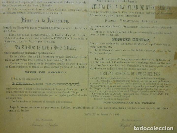 Carteles Feria: 1890 CARTEL PROGRAMA DE FIESTAS VERANO EN CADIZ RELIGION HIMNO SRA. DE LOS ANGELES TOROS - Foto 4 - 116939511