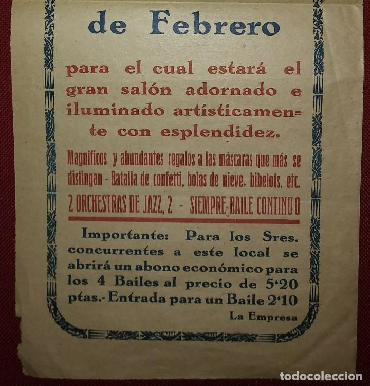 Carteles Feria: 1933 CARNAVAL - LA BOHEMIA - BAILES DE MASCARAS - CARTEL PUBLICITARIO CARNAVAL 32,5cm x 15cm - Foto 4 - 118273143