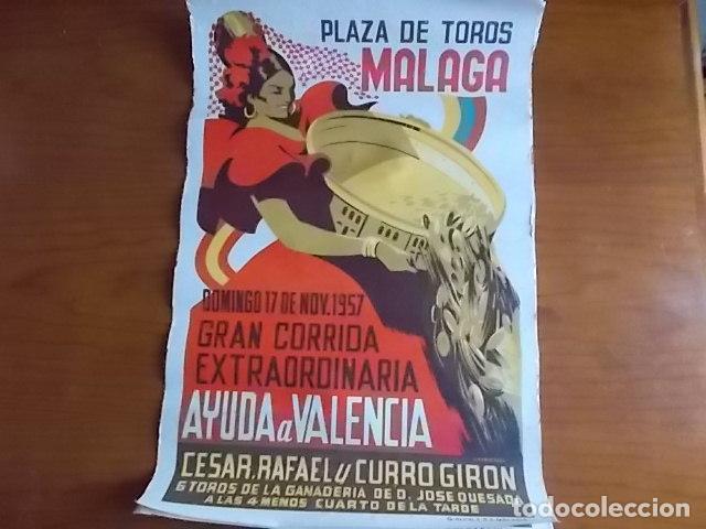 EXCELENTE CARTEL LITOGRAFIADO PLAZA DE TOROS DE MALAGA // 1957 (Coleccionismo - Carteles Gran Formato - Carteles Ferias, Fiestas y Festejos)