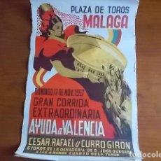 Carteles Feria: EXCELENTE CARTEL LITOGRAFIADO PLAZA DE TOROS DE MALAGA // 1957 . Lote 118288763