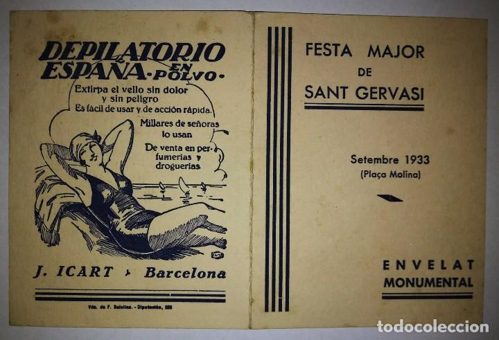 Carteles Feria: 1933 Festa Major de Sant Gervasi. Plaça molina. Publicidad depilatorio España en polvo. J.Icart. - Foto 2 - 119539891