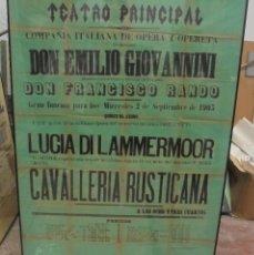 Carteles Feria: CADIZ. TEATRO PRINCIPAL1903. COMPAÑIA DE TEATRO OPERA Y OPERETA. LUCIA DI AMMERMOOR. 116 X 86CM. Lote 121316119