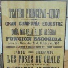 Carteles Feria: CADIZ. TEATRO PRINCIPAL CIRCO. 1903. GRAN COMPAÑIA ECUESTRE. LAS ESTATUAS HUMANAS. 155 X 65CM. Lote 121316587