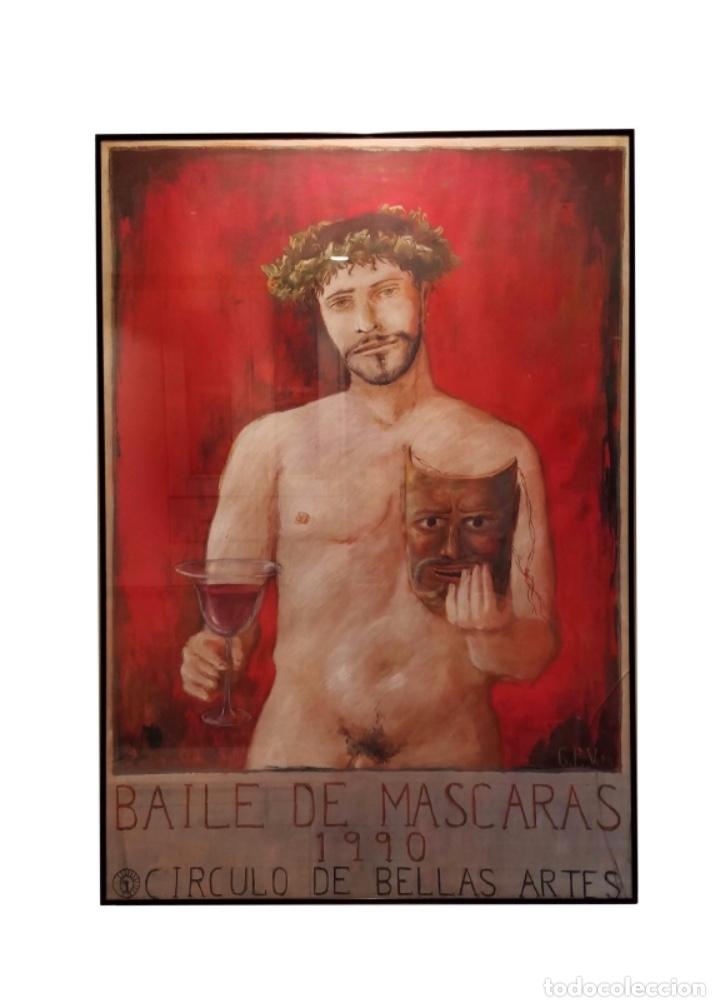 BACO,GUILLERMO PÉREZ VILLALTA, CÍRCULO DE BELLAS ARTES DE MADRID,1.990 BAILE DE MÁSCARAS. (Coleccionismo - Carteles Gran Formato - Carteles Ferias, Fiestas y Festejos)