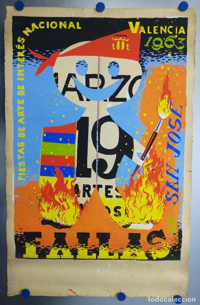 VALENCIA FALLAS SAN JOSE - AÑO 1963 - ORIGINAL PINTADO A MANO (BUÑOL) (Coleccionismo - Carteles Gran Formato - Carteles Ferias, Fiestas y Festejos)