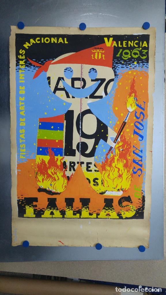Carteles Feria: VALENCIA FALLAS SAN JOSE - AÑO 1963 - ORIGINAL PINTADO A MANO (BUÑOL) - Foto 2 - 122558283