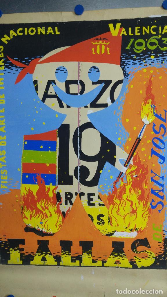 Carteles Feria: VALENCIA FALLAS SAN JOSE - AÑO 1963 - ORIGINAL PINTADO A MANO (BUÑOL) - Foto 3 - 122558283