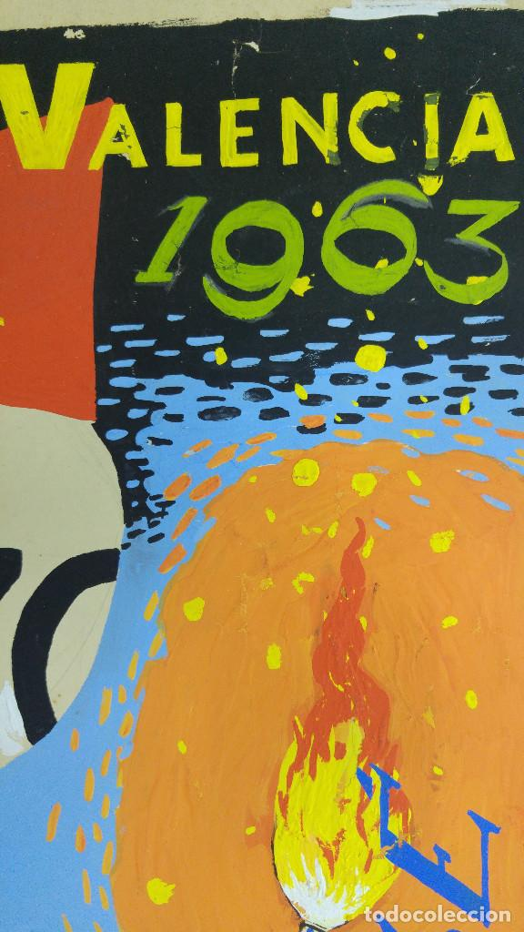 Carteles Feria: VALENCIA FALLAS SAN JOSE - AÑO 1963 - ORIGINAL PINTADO A MANO (BUÑOL) - Foto 4 - 122558283