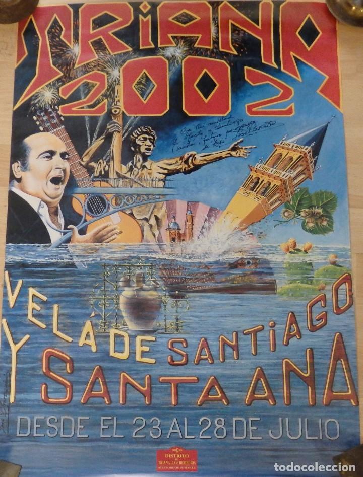 CARTEL DE LA VELA DE SANTIAGO Y SANTA ANA, TRIANA ,2002, FIRMADO POR EL AUTOR,48C68 CMS (Coleccionismo - Carteles Gran Formato - Carteles Ferias, Fiestas y Festejos)
