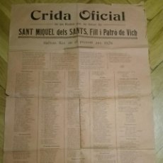 Carteles Feria: CRIDA OFICIAL DE LES FESTES EN HONOR DE SANT MIQUEL DELS SANTS, FILL I PATRO DE VICH. 1926. Lote 124462951