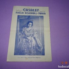 Carteles Feria: ANTIGUO PROGRAMA PRESENTACIÓN FALLERA MAYOR FALLA BORRULL - TURIA EN EL CASALET DEL AÑO 1954. Lote 126053979