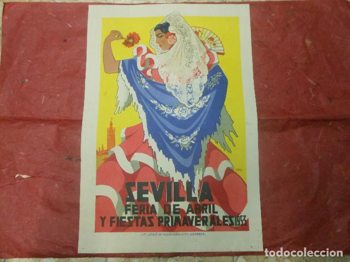 1953 CARTEL DE SEVILLA FERIA DE ABRIL Y FIESTAS PRIMAVERALES - DIBUJADO POR J. RAMOS (Coleccionismo - Carteles Gran Formato - Carteles Ferias, Fiestas y Festejos)