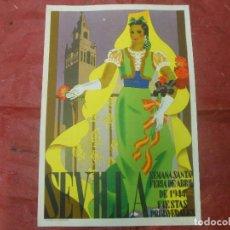 Carteles Feria: 1944 CARTEL SEVILLA SEMANA SANTA FERIA DE ABRIL Y FIESTAS PRIMAVERALES - DIBUJADO POR JUAN MIGUEL. Lote 126294031