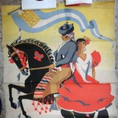 Carteles Feria: CARTEL JEREZ , 1957 , FERIA DE LA PRIMAVERA , LITOGRAFIA, ILUSTRADOR RUIZ SANCHEZ , ORIGINAL. Lote 128793315