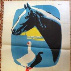 Carteles Feria: CARTEL FERIAS , CONCURSO PROVINCIAL DE GANADOS, TORTOSA 1962 , ILUSTRADOR REY PADILLA, ORIGINAL ,RB. Lote 128996319