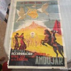 Carteles Feria: CARTEL FIESTA DE RECORONACION Y ROMERÍA DE LA VIRGEN DE LA CABEZA AÑO 1960 (ANDUJAR) MIREN FOTOS. Lote 132898499