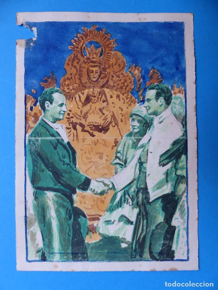 VALENCIA MARE DE DEU DELS DESAMPARATS - ORIGINAL PINTADO A MANO - AÑOS 1930 (Coleccionismo - Carteles Gran Formato - Carteles Ferias, Fiestas y Festejos)