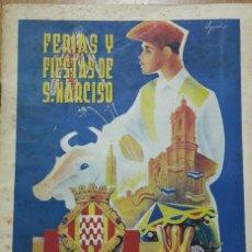 Carteles Feria: PROGAMA FERIAS Y FIESTAS SAN NARCISO 1954 GERONA. Lote 132405230