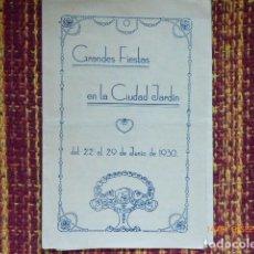 Carteles Feria: MALAGA , FOLLETO DE MANO FIESTAS CIUDAD JARDIN, AÑO 1930.. Lote 132875142