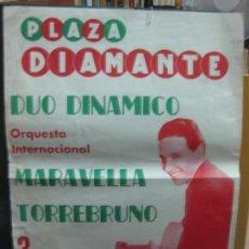 Carteles Feria: CARTEL FIESTA MAYOR DE GRACIA 1960. PLAZA DIAMANTE. DUO DINAMICO. MARAVELLA. TORREBRUNO.. Lote 133885950