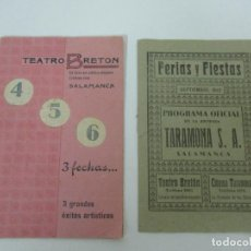Carteles Feria: FERIAS Y FIESTAS SALAMANCA - PROGRAMA OFICIAL TEATRO BRETON, CINEMA TARAMONA - SETIEMBRE 1942. Lote 135747402