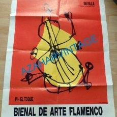 Carteles Feria: SEVILLA, 1990, CARTEL VI BIENAL DE FLAMENCO, EL TOQUE, 70X100 CMS. Lote 136567034