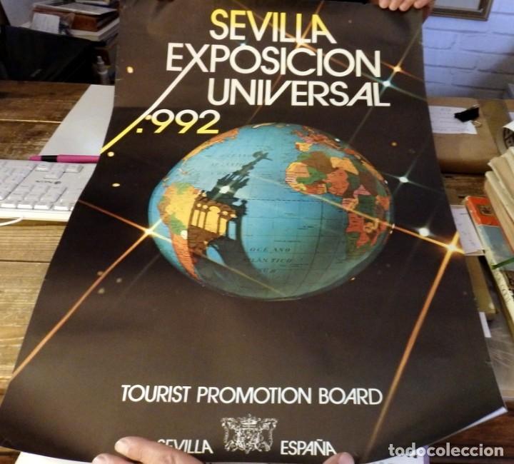 RARISIMO CARTEL PUBLICITARIO DE LA EXPO 92 DE SEVILLA, 44X64 CMS (Coleccionismo - Carteles Gran Formato - Carteles Ferias, Fiestas y Festejos)