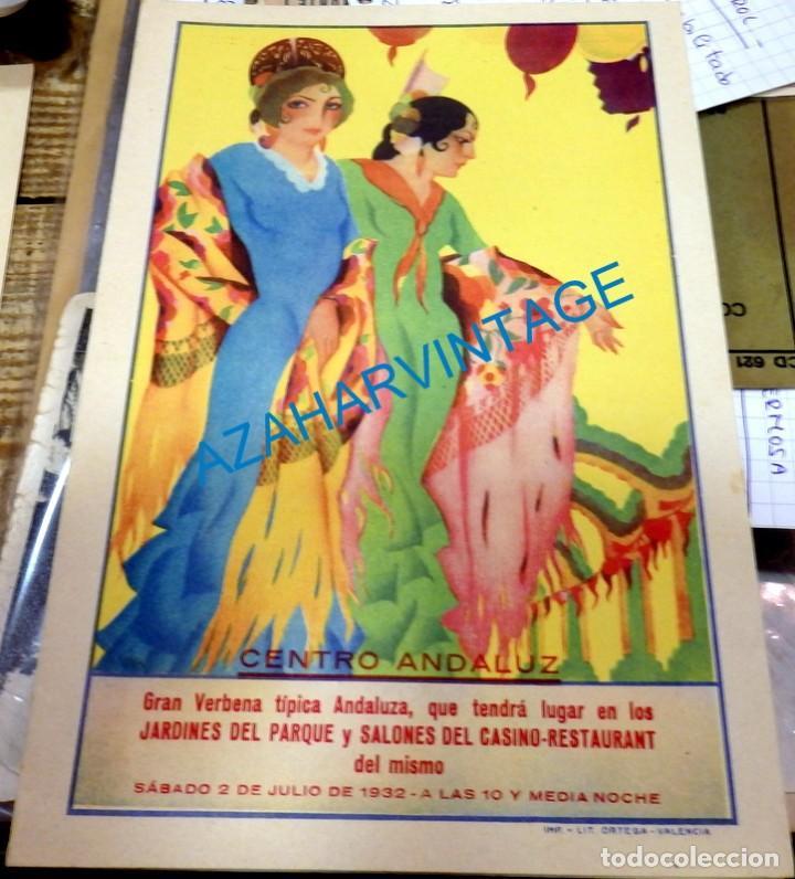 BARCELONA, 1932, RARISIMO PROGRAMA VERBENA CENTRO ANDALUZ, LIT.ORTEGA, 138X210MM CERRADO (Coleccionismo - Carteles Gran Formato - Carteles Ferias, Fiestas y Festejos)