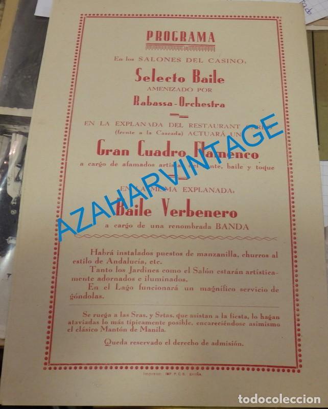 Carteles Feria: BARCELONA, 1932, RARISIMO PROGRAMA VERBENA CENTRO ANDALUZ, LIT.ORTEGA, 138X210MM CERRADO - Foto 2 - 137709318