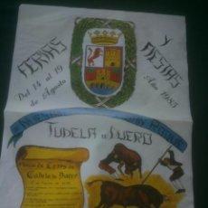 Carteles Feria: CARTEL FIESTAS TUDELA DE DUERO.1985.VALLADOLID. Lote 138077850