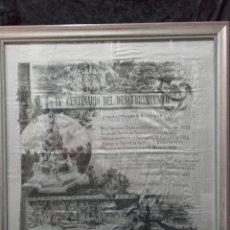 Carteles Feria: CARTEL DE SEDA DEL IV CENTENARIO DEL DESCUBRIMIENTO DE AMÉRICA, SEVILLA 1892.. Lote 138536652