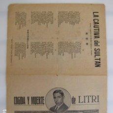 Affissi Fiera: PLIEGO DE CORDEL. CANCIONES MUERTE LITRI. HACIA 1926. Lote 138781246