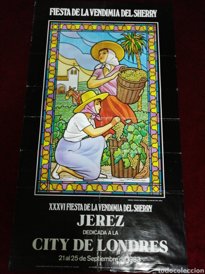 CARTEL XXXVI FIESTA DE LA VENDIMIA DEL SHERRY. JEREZ DEDICADA A LA CITY DE LONDRES. SETIEMBRE 1983 (Coleccionismo - Carteles Gran Formato - Carteles Ferias, Fiestas y Festejos)