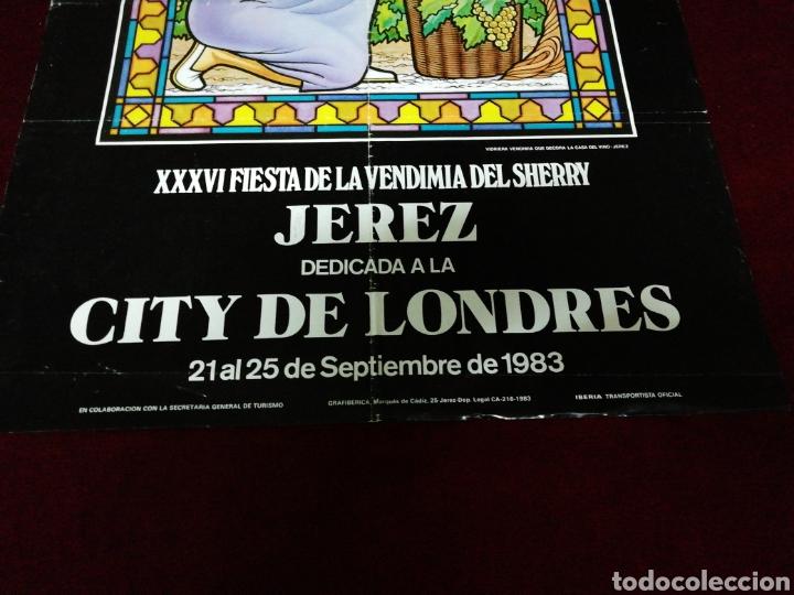 Carteles Feria: Cartel XXXVI Fiesta de la Vendimia del Sherry. Jerez dedicada a la City de Londres. Setiembre 1983 - Foto 2 - 139188876