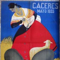Carteles Feria: CARTEL CACERES 1935, DECO, CONCURSO GANADOS EXPOSICION LITERARIA,POR BURGOS CAPDEVIELLE , ORIGINAL. Lote 139322518