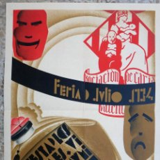 Carteles Feria: CARTEL VALENCIA, FERIA DE JULIO 1934, FIESTA DE LOS PERFUMES, ALVARO MIRALLES, DECO ,ORIGINAL. Lote 139323246