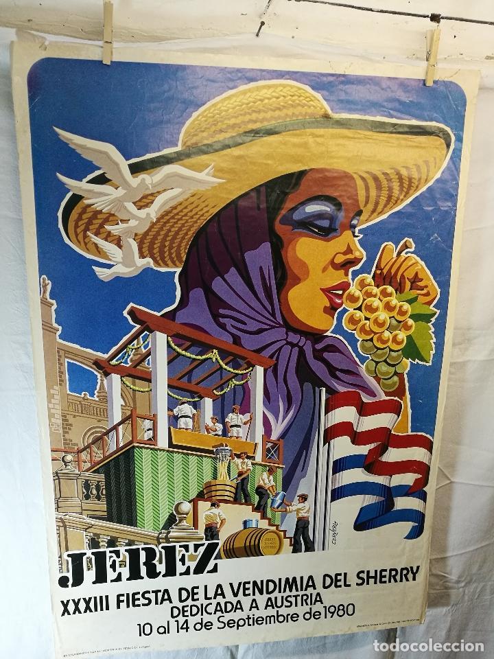 JEREZ - XXXIII-- FIESTA DE LA VENDIMIA SHERRY AUSTRIA - 1980 (Coleccionismo - Carteles Gran Formato - Carteles Ferias, Fiestas y Festejos)