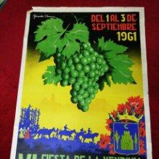 Carteles Feria: ANTIGUO CARTEL VII FIESTA DE LA VENDIMIA Y FERIA DE NUESTRA SEÑORA DE BELÉN. MONTILLA 1961. Lote 139533590