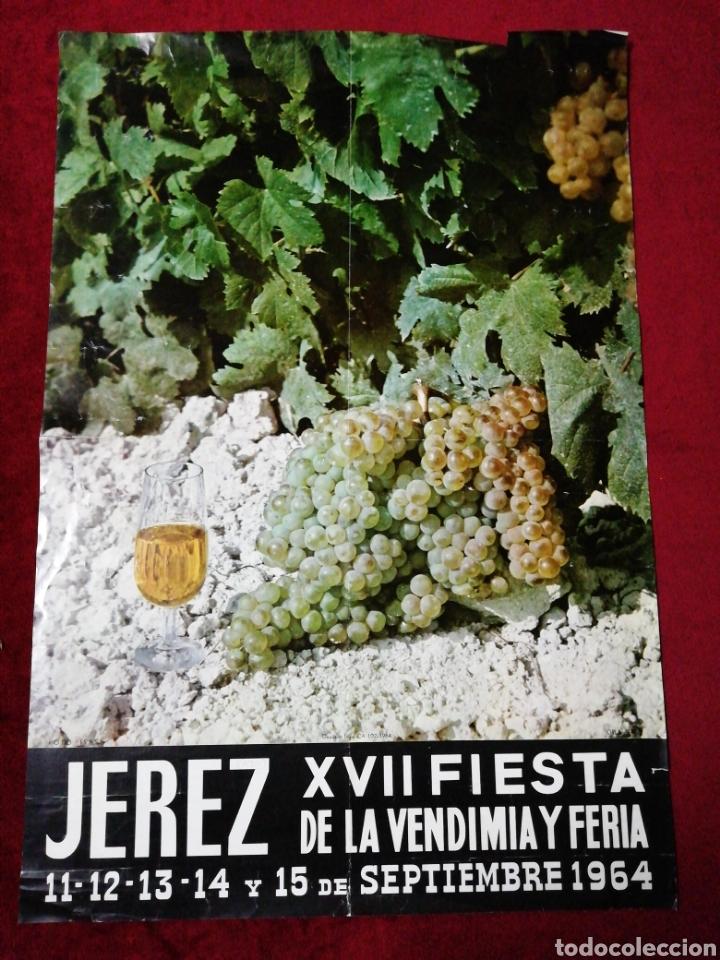 ANTIGUO CARTEL XIII FIESTA DE LA VENDIMIA Y FERIA. JEREZ 1964 (Coleccionismo - Carteles Gran Formato - Carteles Ferias, Fiestas y Festejos)