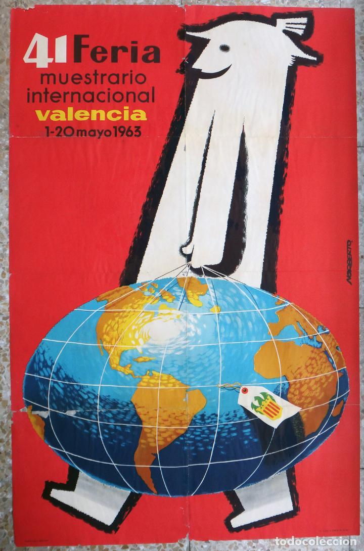 CARTEL FERIA MUESTRARIO INTERNACIONAL VALENCIA, 1963 , NORBERTO , ORIGINAL ,FMV (Coleccionismo - Carteles Gran Formato - Carteles Ferias, Fiestas y Festejos)