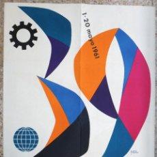 Carteles Feria: CARTEL FERIA MUESTRARIO INTERNACIONAL VALENCIA, 1961 , POZA , ORIGINAL ,FMV. Lote 140147118